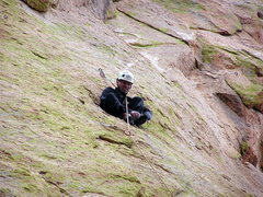 Rock Climbing Photo: Luis sitting in a hole in the middle of a nice rou...