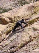 Rock Climbing Photo: Scott climbing an old school trad line he saw that...