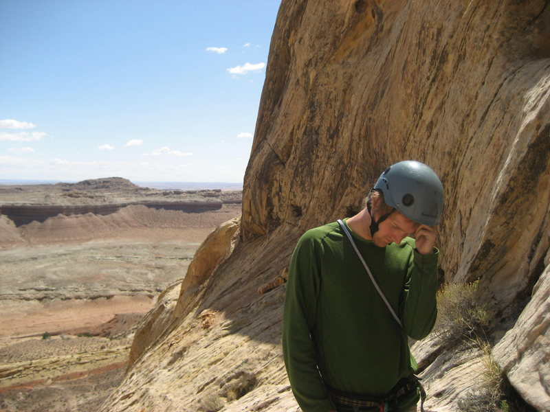 "Steve belaying Paul on the final pitch....""God what is he doing up there""?  Photo Pat Moe"