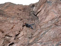 Rock Climbing Photo: Rapping down from the belay alcove.