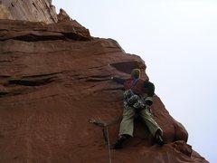 Rock Climbing Photo: Yellow dots mark Wyatt's first placement.