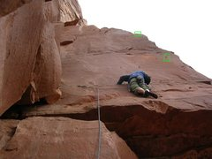 Rock Climbing Photo: Starting pitch two.  Both bolts marked in boxes.  ...