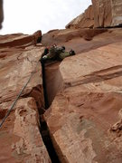 Rock Climbing Photo: Wyatt Payne just reaching the nice hands section. ...