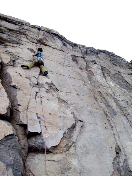 Rock Climbing Photo: BH on FA of Moon Scape, Sea Cliffs of North Quarry...