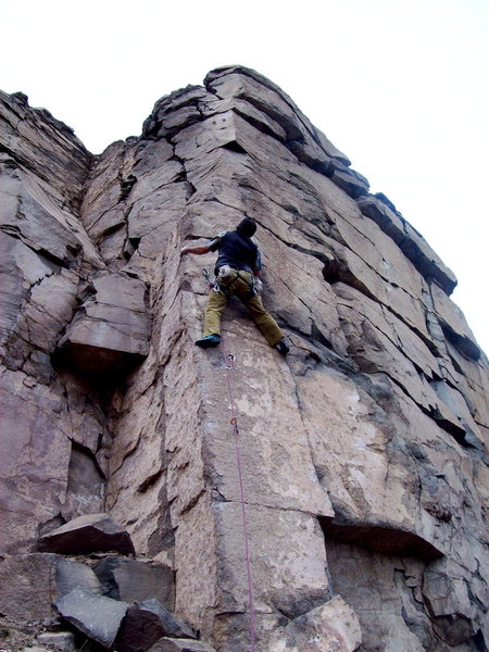 BH on FA of Send Arete, Send Friend Wall, Sea Cliffs of North Quarry.
