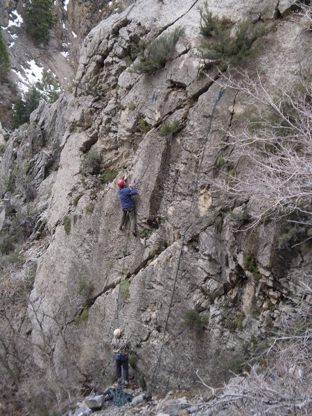 Rock Climbing Photo: Clipping the 3rd bolt.  The four bolts are all 4-5...