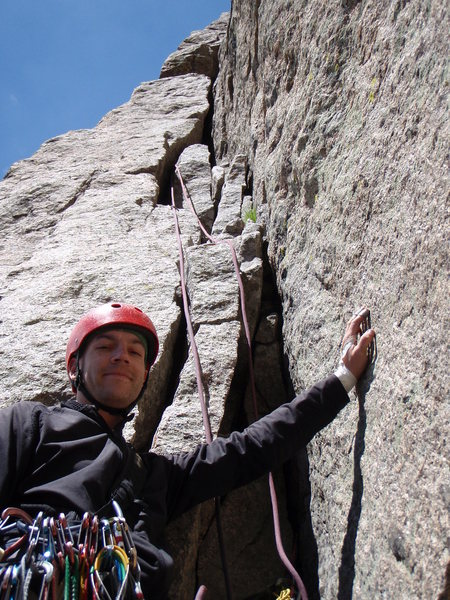 Rock Climbing Photo: All smiles before taking over the lead on the long...