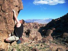 Rock Climbing Photo: Chris warming up on 'Brock' v1