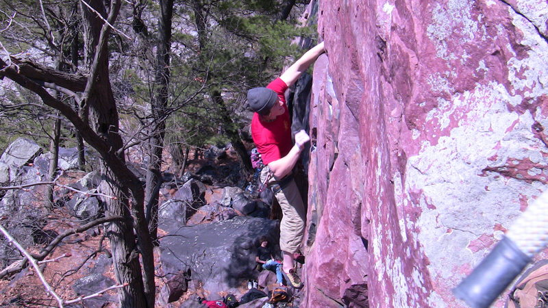 Rock Climbing Photo: Reaching the top of the main crack, just before mo...