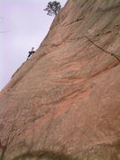 Rock Climbing Photo: Pennie Schwalm near the top of Eddyline.