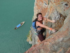 Rock Climbing Photo: Climbing the 5.10 while our boat waits patiently b...