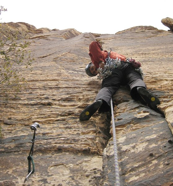 Rock Climbing Photo: Jonny frightened by the levitating, posessed cam a...