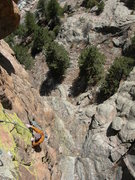 Rock Climbing Photo: Pretty nice exposure on this VERY steep route. Jim...