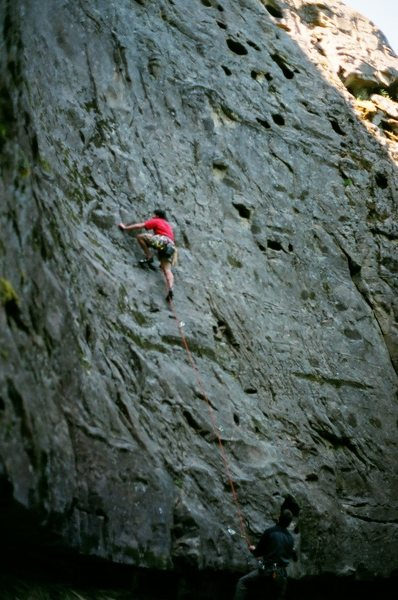 Rock Climbing Photo: 5.9 lead sandstone, I forget the name of this one....
