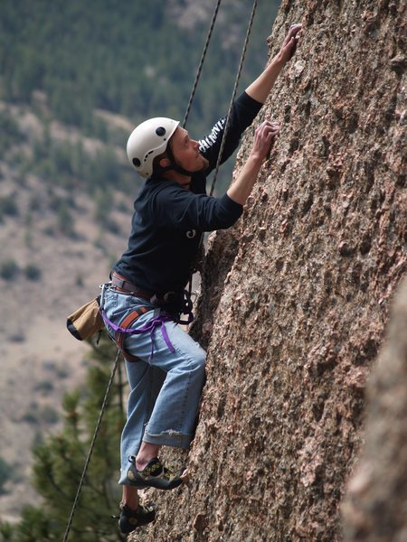 Rock Climbing Photo: Travis, working the route. This was his first clim...