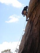 Rock Climbing Photo: Rocket Man working the crux.