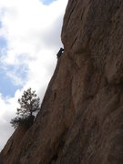 Rock Climbing Photo: Jerry Miller leading Tree Corner.