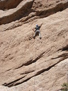 Rock Climbing Photo: Jerry high in the loose aggregate.
