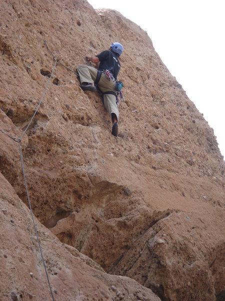Rock Climbing Photo: Jerry working his way through the aggregate.