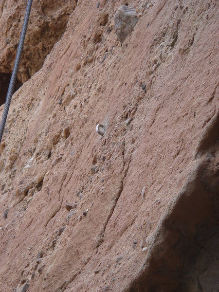 Rock Climbing Photo: The cemented loop protection typical of this route...