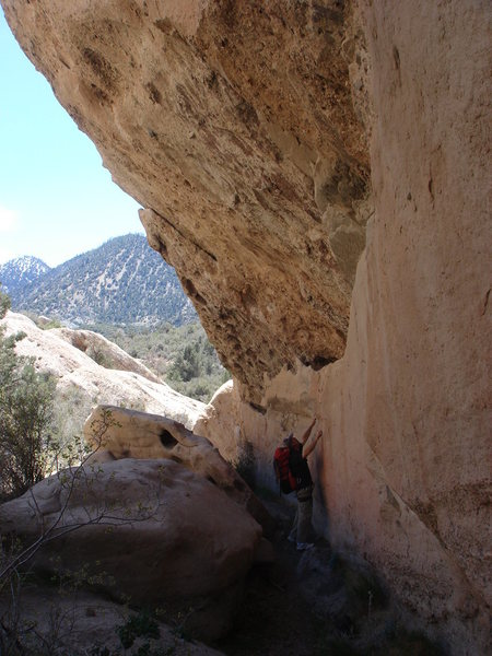Rock Climbing Photo: Beneath the massive roof of Little Attitude wall.