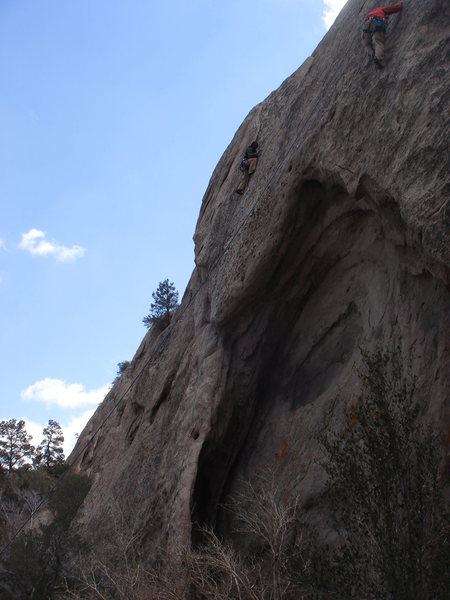 Climbers above the cave on VD wall.