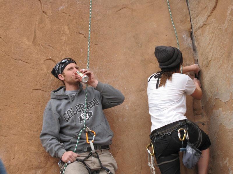 Rock Climbing Photo: Attentively Belyaing Brooke up 30 Seconds Over Pot...