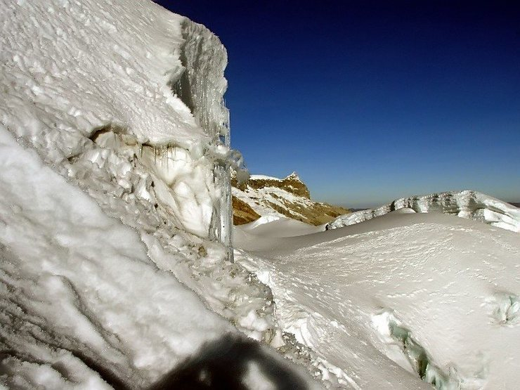 Rock Climbing Photo: Looking back from near the summit slopes along the...