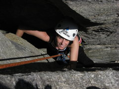 in the chimney on Fruit Loops at Rumbling Bald, NC