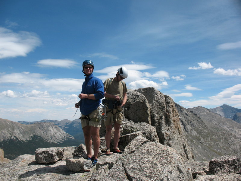 Justin and Carl. Pingora, Cirque of the Towers, WY<br> Photo Lynn Sanson.