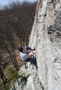 Rock Climbing Photo: Mike R tryin some interesting flake Beta :)