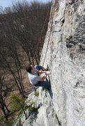 Rock Climbing Photo: Mike R tryin some interesting flake Beta :)
