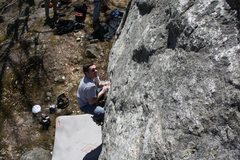 Rock Climbing Photo: Mike R gettin the feet up for the big move