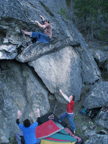 Me topping out a really fun highball boulder roofcrack North of Spokane,WA. Felt somewhere in the 5.11 range.  The avid boulderers in the group rated it V5/6.