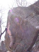 Rock Climbing Photo: Matching the upper flake.