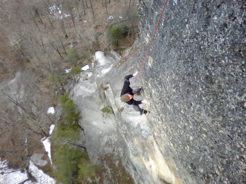 Rock Climbing Photo: Bill Morse tr'ing Edge of the World, the left spli...