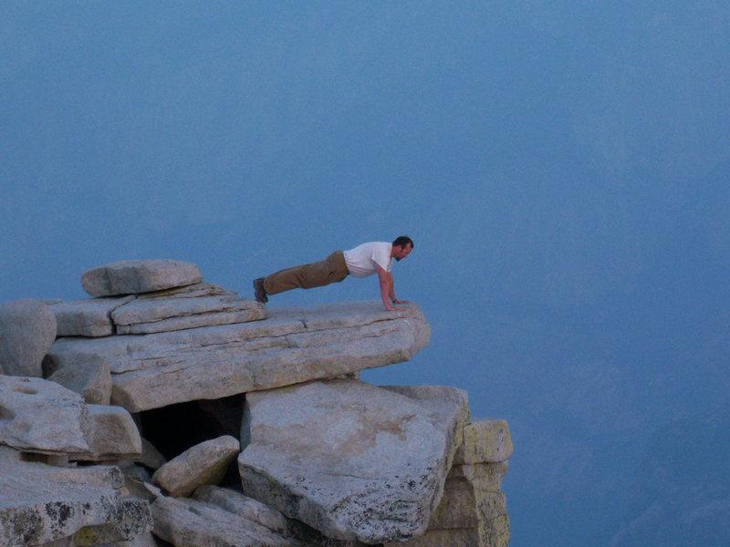 Push-ups on the edge of Half Dome.