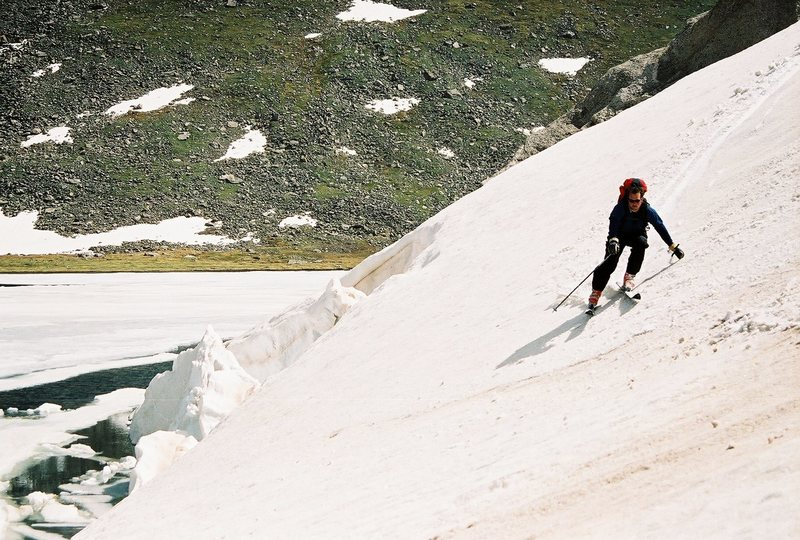 Skiing up on Mt. Evans, Trying to stay out of Summit Lake.