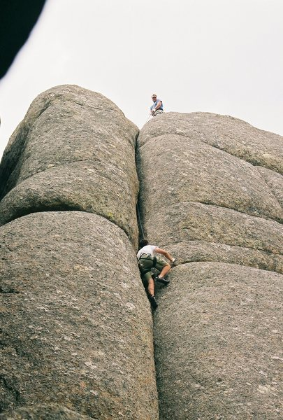 Rock Climbing Photo: Belaying my brother up to the top of Mother 1.