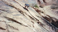 Rock Climbing Photo: Leading an unknown climb just outside of Moab