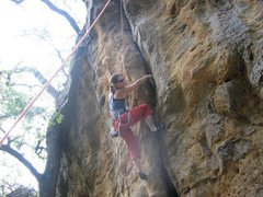 Rock Climbing Photo: Krissy just passed the crux.