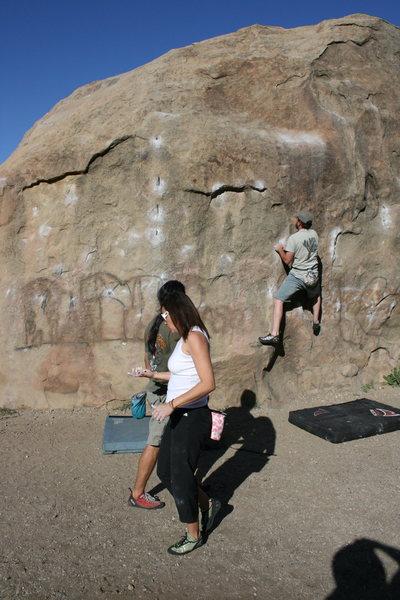 Boulder 1 Agina, Al and Nathan climbing.
