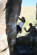 Rock Climbing Photo: Agina on the back side of Pump Rock spotted by lau...
