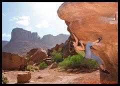 Rock Climbing Photo: Kris on unknown problem, block box boulder???