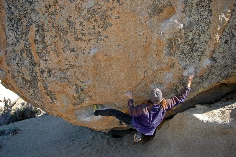 Jeremy Freeman tackles the crux sequence after emerging from the 15 foot roof