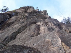 Rock Climbing Photo: Looking up the wandering first pitch of Recompense...