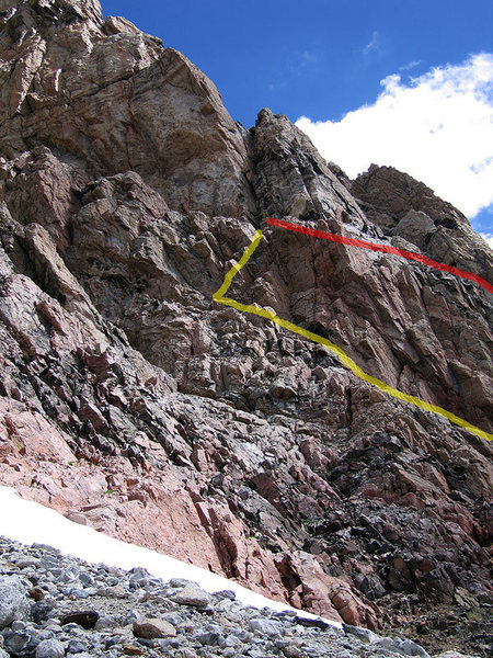 Red is the correct approach ledge to the chimney of P1.  Yellow is an alternative approach that adds 1/2 pitch.