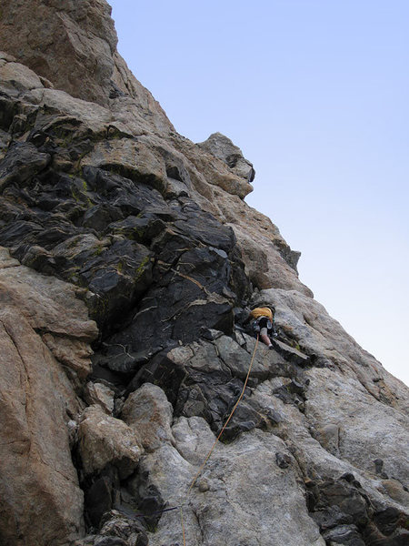 Rock Climbing Photo: Carl Page leading P3 face after the left leaning c...