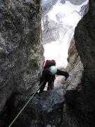 Rock Climbing Photo: Jim LaRue in P4 chimney.