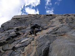 Rock Climbing Photo: Robert Henderson starting the Black Face (p5)